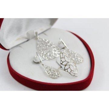 Дамски сребърен комплект обеци медальон пръстен 4512