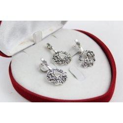 Дамски сребърен комплект тъмно сребро обеци медальон 4516