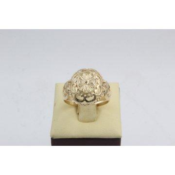Златен дамски ретро пръстен Корона жълто злато 4520