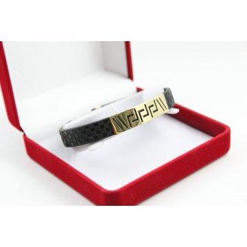 Златна унисекс гривна с черен силикон жълто злато 4521
