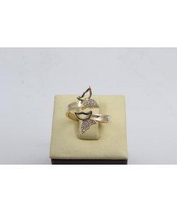 Златен дамски пръстен Пеперуди жълто злато бели камъни 4522