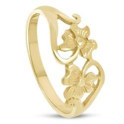 Златен дамски пръстен с детелини 4522