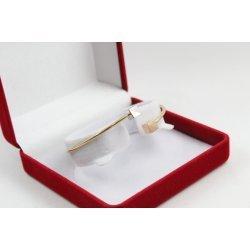 Златна женска твърда гривна бяло розово и жълто злато 4523