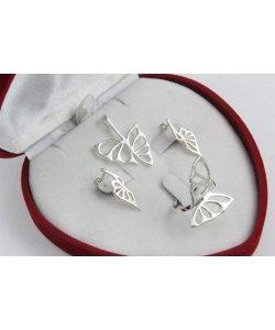 Дамски сребърен комплект с пеперуди 4524
