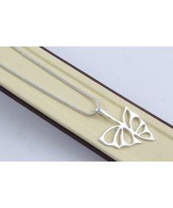 Дамско сребърно колие Пеперуди 4525