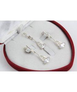 Дамски сребърен комплект с бели камъни 4528