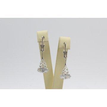 Дамски сребърни обеци с бели камъни 4530