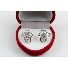 Дамски сребърни обеци с бели камъни 4435