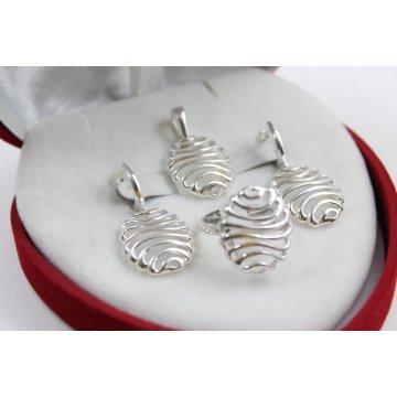 Дамски сребърен комплект обеци медальон пръстен 4535