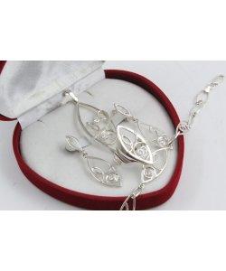 Дамски сребърен комплект с бели камъни 4539