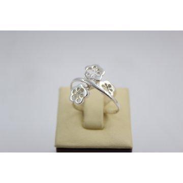 Дамски сребърен ретро пръстен с бели камъни 4543