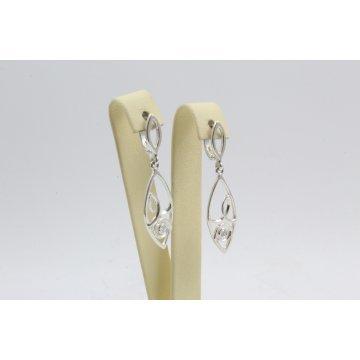 Сребърни дамски висящи обеци с бели камъни 4541