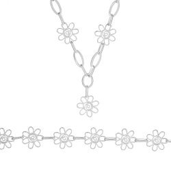 Дамски сребърен комплект Пролет колие гривна 4548
