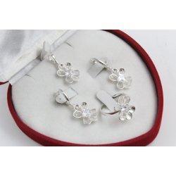 Дамски сребърен комплект Лято обеци пръстен медальон 4551
