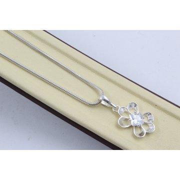 Дамско сребърно колие с бели камъни Лято 4502