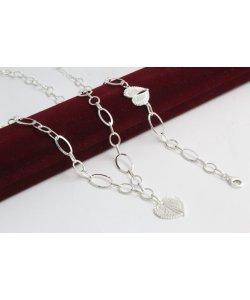Дамски сребърен комплект Ангелско Сърце колие гривна 4555