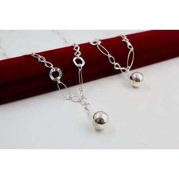 Дамски сребърен комплект Истинска Любов колие гривна 4561