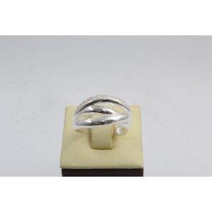 Дамски сребърен пръстен с бели камъчета 4564