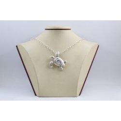 Дамско сребърно колие Костенурка тъмно сребро 4576