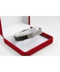 Сребърна унисекс гривна с черна кожа 4580