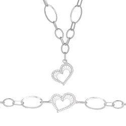 Дамски сребърен комплект Сърцето на Афродита колие гривна 4591