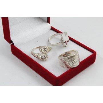 РАЗПРОДАЖБА промо пакет три дамски сребърни пръстена 4598
