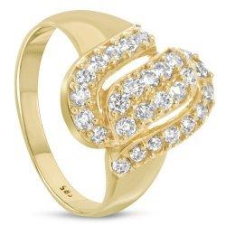 Дамски златен пръстен жълто злато бели камъни 4611