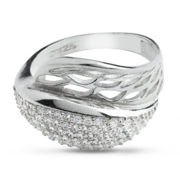Дамски сребърен пръстен с бели камъни 4612