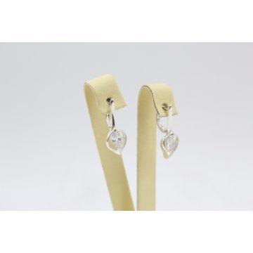 Дамски сребърни обеци с бели камъни 4628