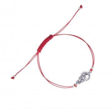 Дамска сребърна гривна с червен конц и Богородица 4629