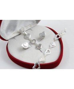 Дамски сребърен комплект обеци медальон гривна 4661