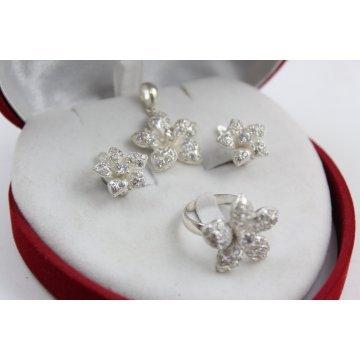 Дамски сребърен комплект обеци медальон пръстен 4661