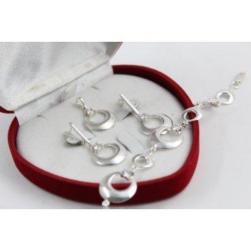 Дамски сребърен комплект обеци медальон гривна 4669