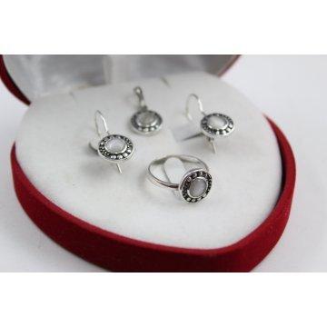 Дамски сребърен комплект обеци медальон пръстен 4669