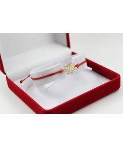Златна гривна с червен конец и розета 4723