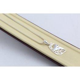 Дамско сребърно колие с медальон Куче 4752