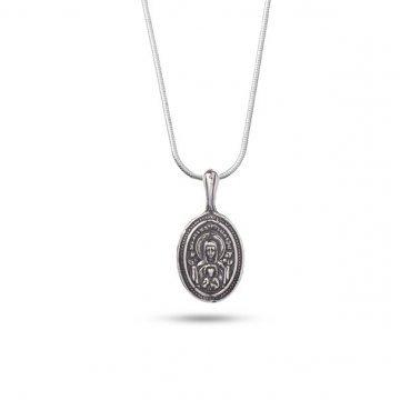 Дамско сребърно колие Богородица с Младенеца тъмно сребро 4753