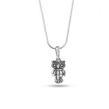 Дамско сребърно колие Бухалче тъмно сребро 4754