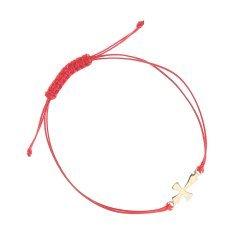 Златна гривна с червен конец и кръст 4761