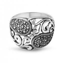 Дамски сребърен пръстен тъмно сребро 4766