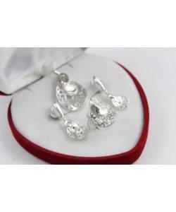 Дамски сребърен комплект обеци медальон пръстен 4767