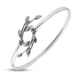 Дамска сребърна твърда гривна тъмно сребро 4865