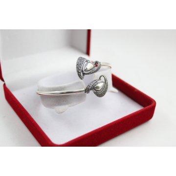 Сребърна дамска твърда гривна тъмно сребро 4867