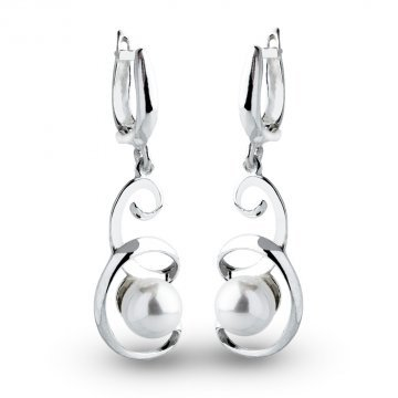 Дамски сребърни обеци с бели перли 1134