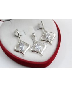 Дамски сребърен комплект с бели камъни обеци медальон 4873