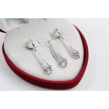 Дамски сребърен комплект обеци медальон 4876