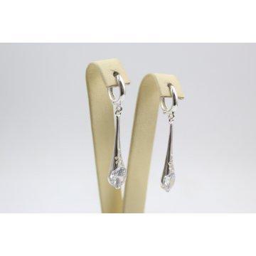 Дамски сребърни висящи обеци с бели камъни 4877