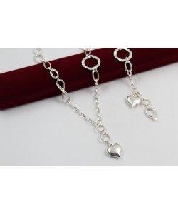 Дамски сребърен комплект с висящо сърце и безкрайност 4890