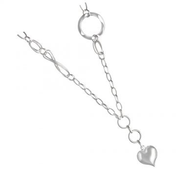 Дамско сребърно колие със сърце и безкрайност 4891