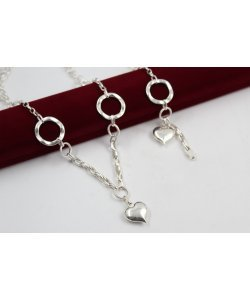 Дамски сребърен комплект с висящо сърце колие гривна 4893